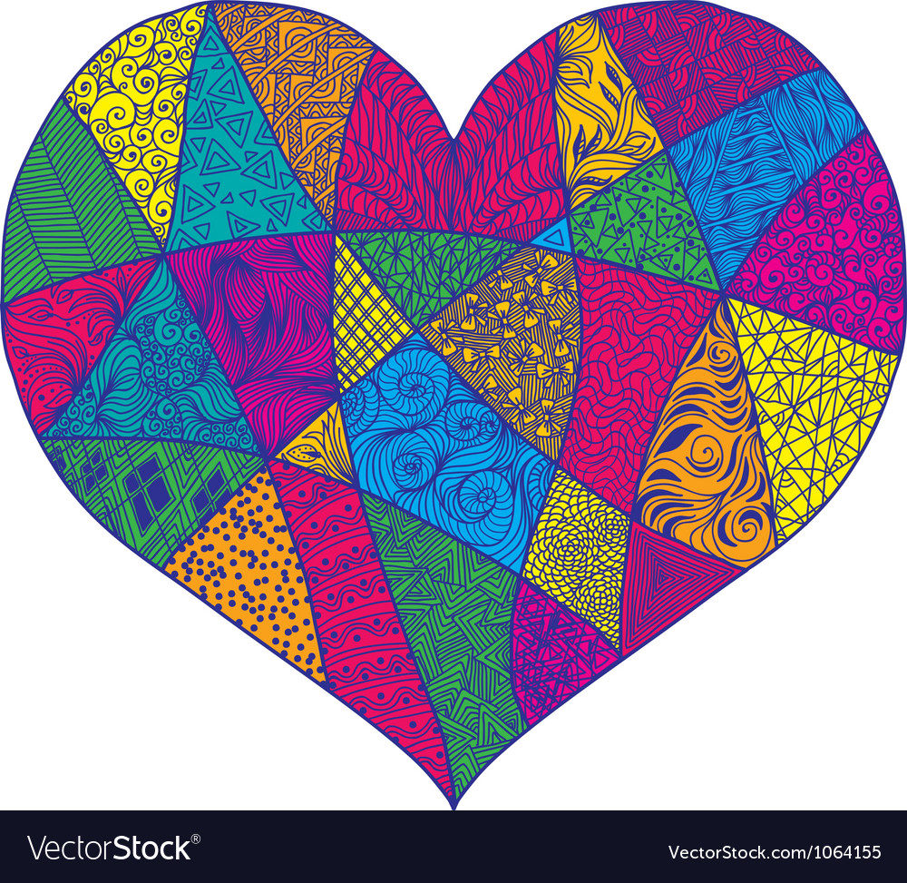 Heart with abstract ornament vector image