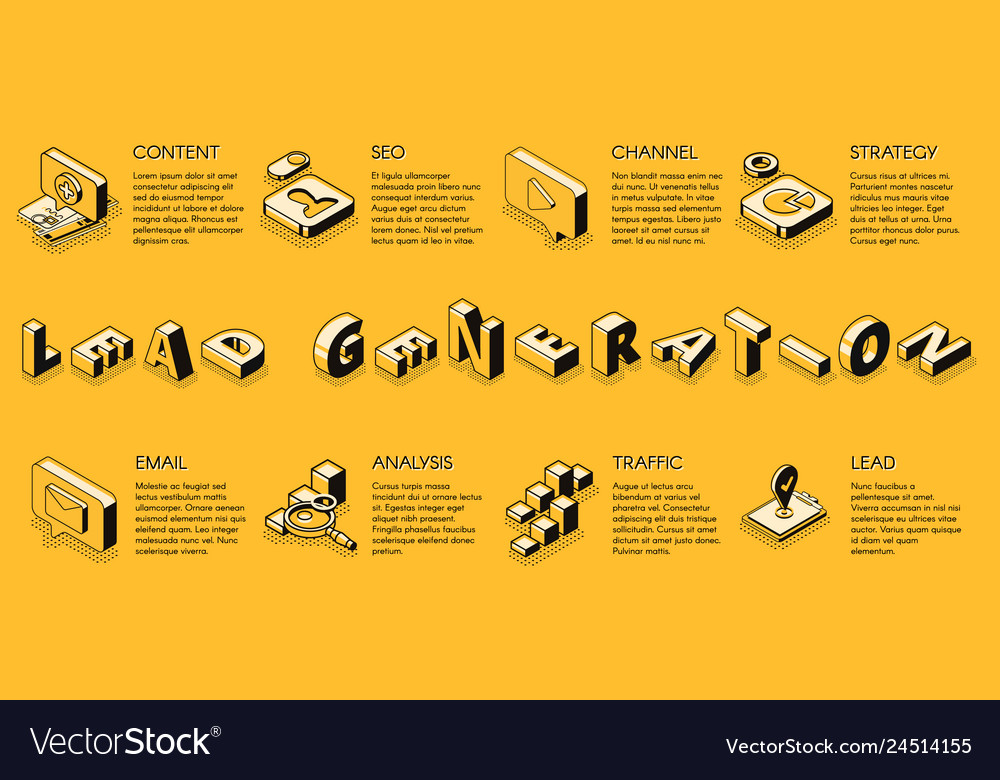 Lead generation isometric web banner