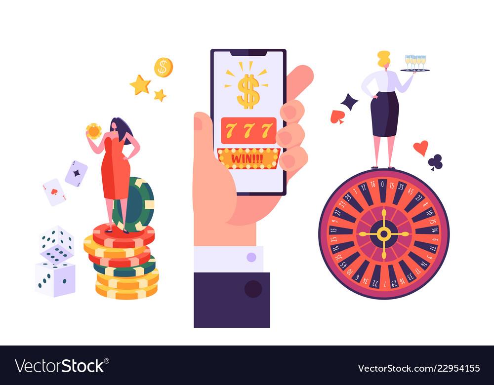 Online gambling internet casino concept characters