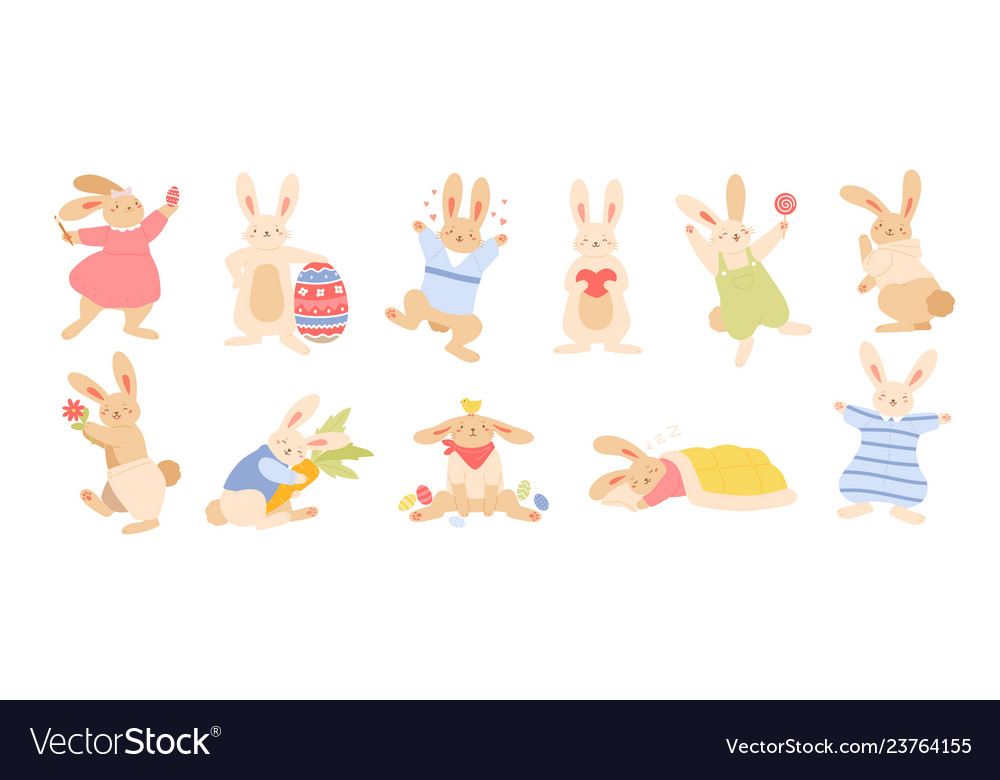 Set cute funny easter rabbits or bunnies