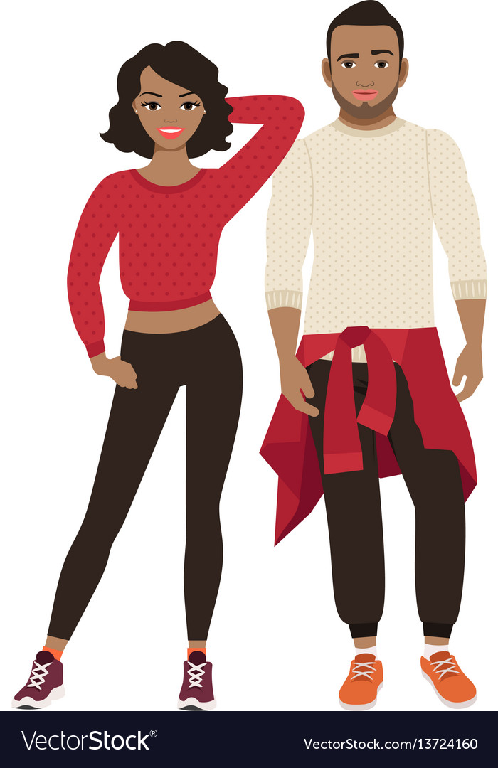 African couple in sport style clothes vector image