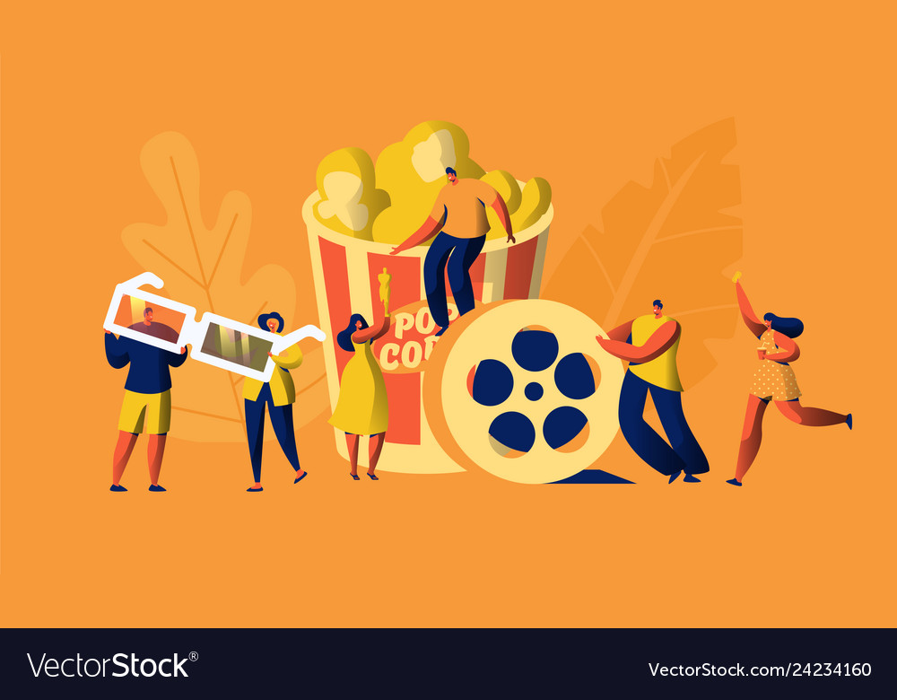 Cinema movie time with popcorn and drink weekend