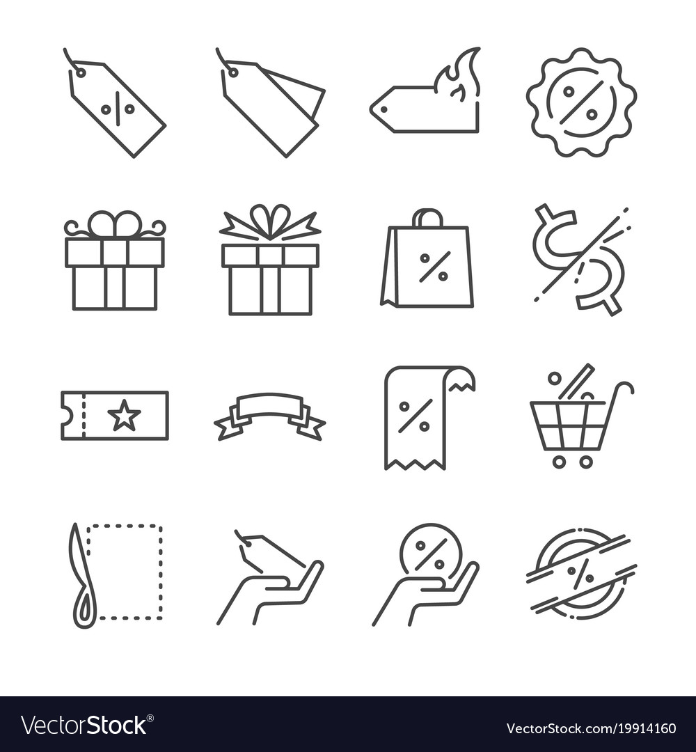 Discount and sale line icon set