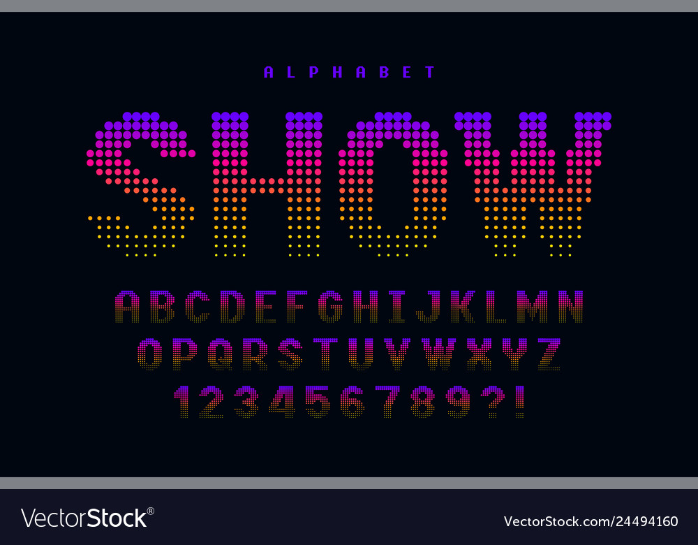 Dotted halftoned display font design alphabet and