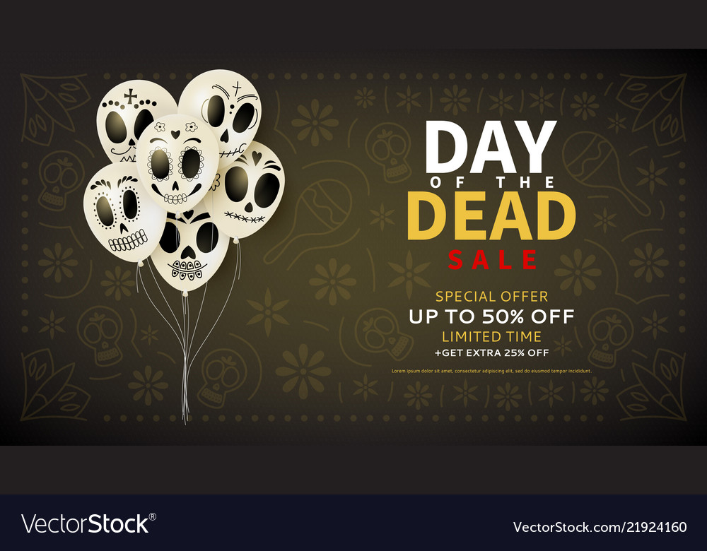 Festive web banner of day of the dead sale