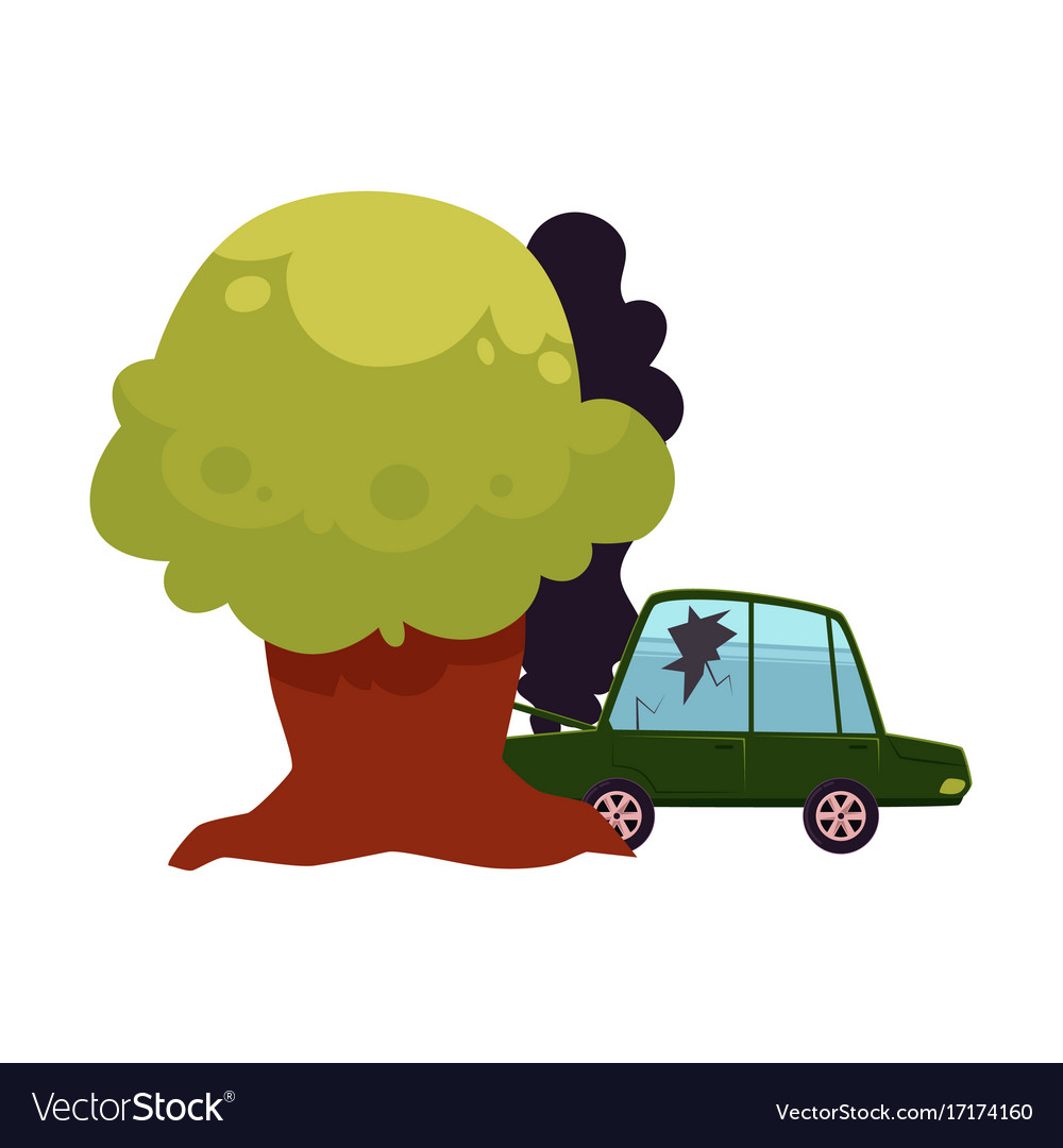 Flat Cartoon Crashed Into Tree Car Accident Vector Image