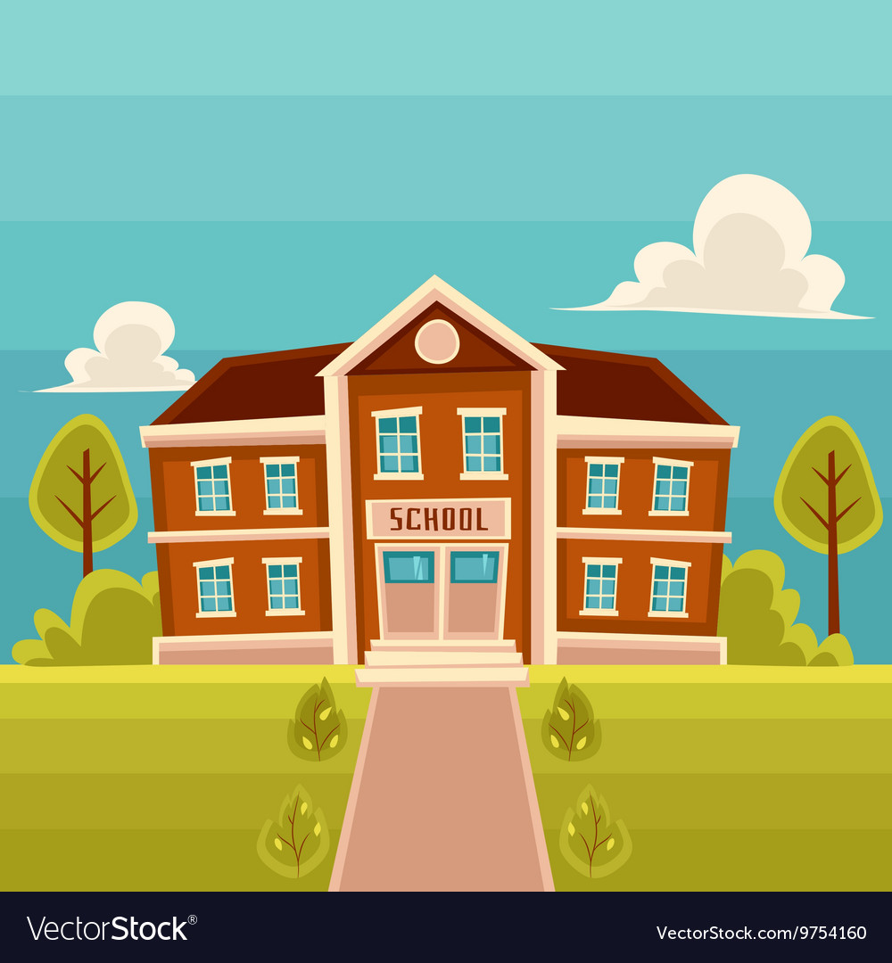 front view school building cartoon royalty free vector image rh vectorstock com cartoon school building with fish cartoon school building no background