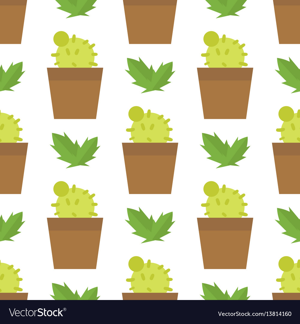 Green desert plant nature cartoon cactus and vector image