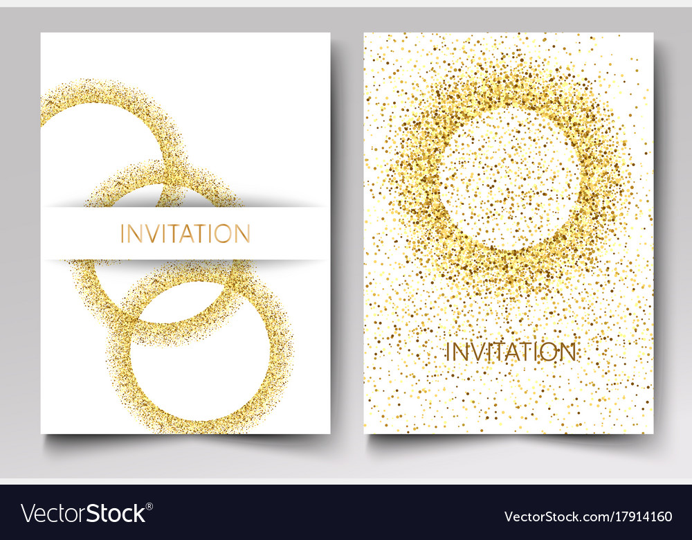 Invitation template gold glitter in the shape of vector image stopboris Image collections