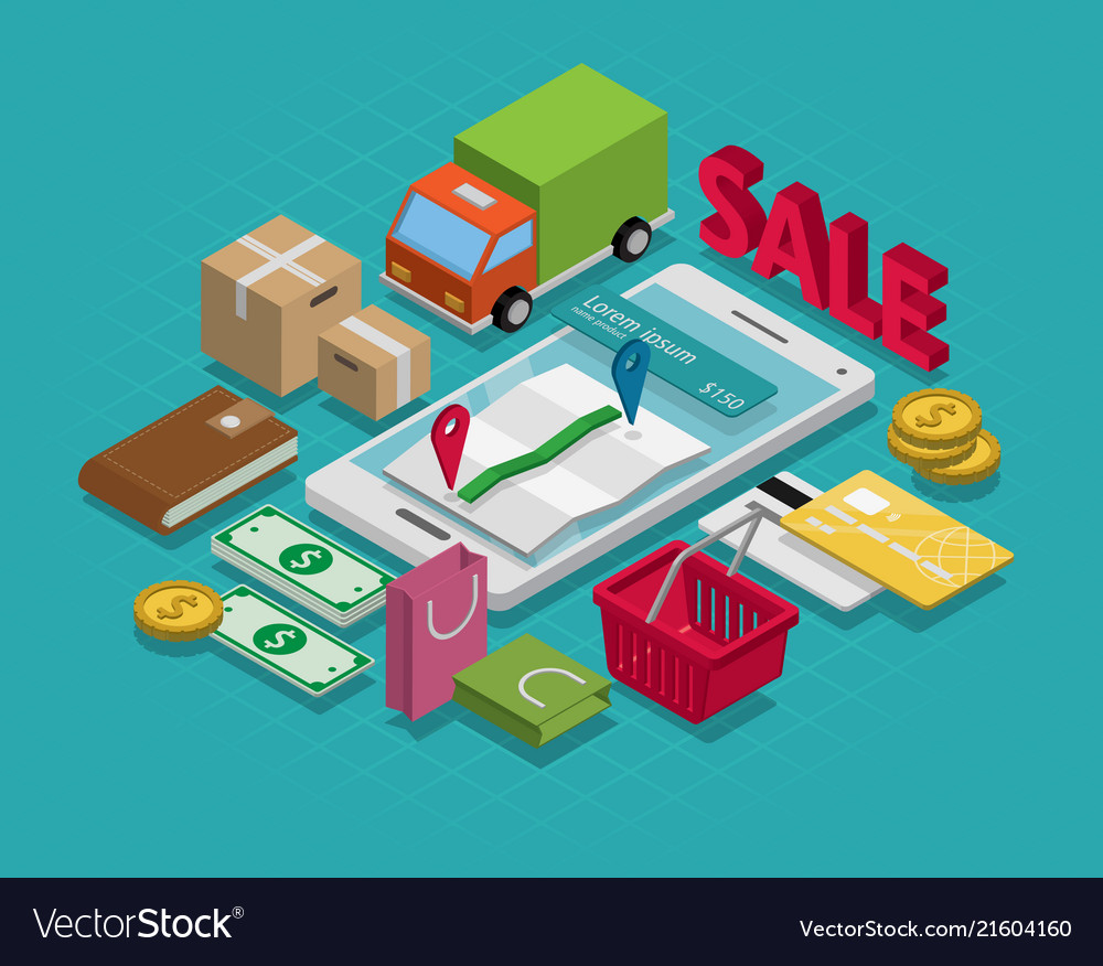 Isometric smart phone online shopping concept