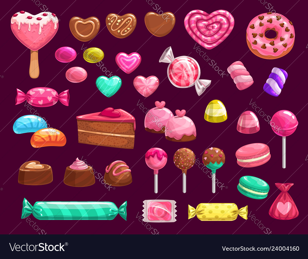 Love heart candies sweets and cakes