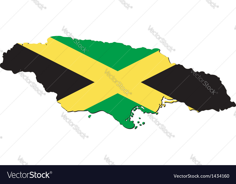 Map Of Jamaica With National Flag Royalty Free Vector Image