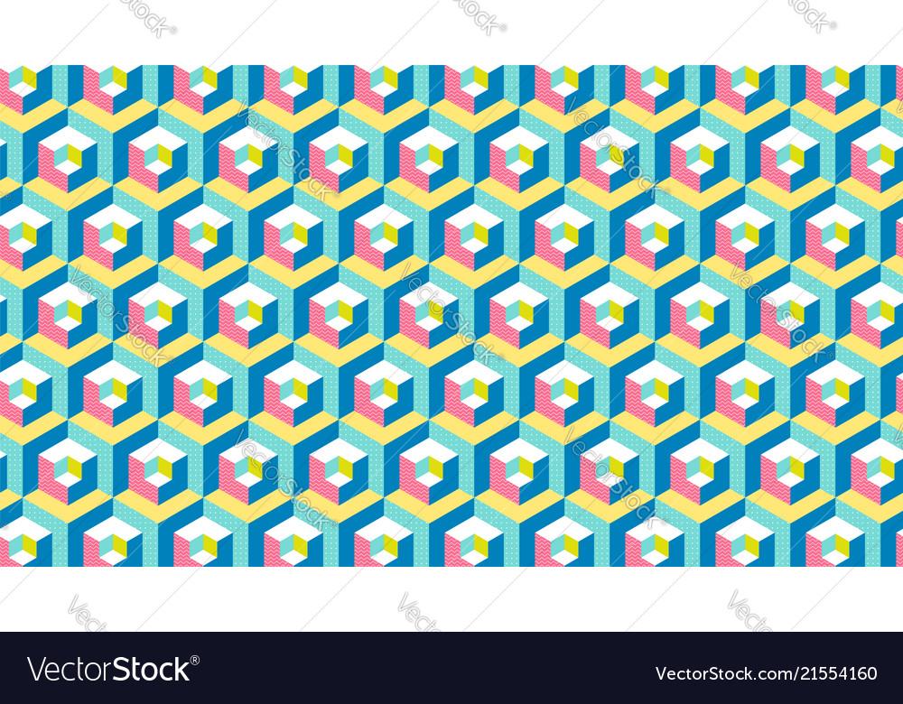 Modern hexagon 3d banner memphis style repetitive