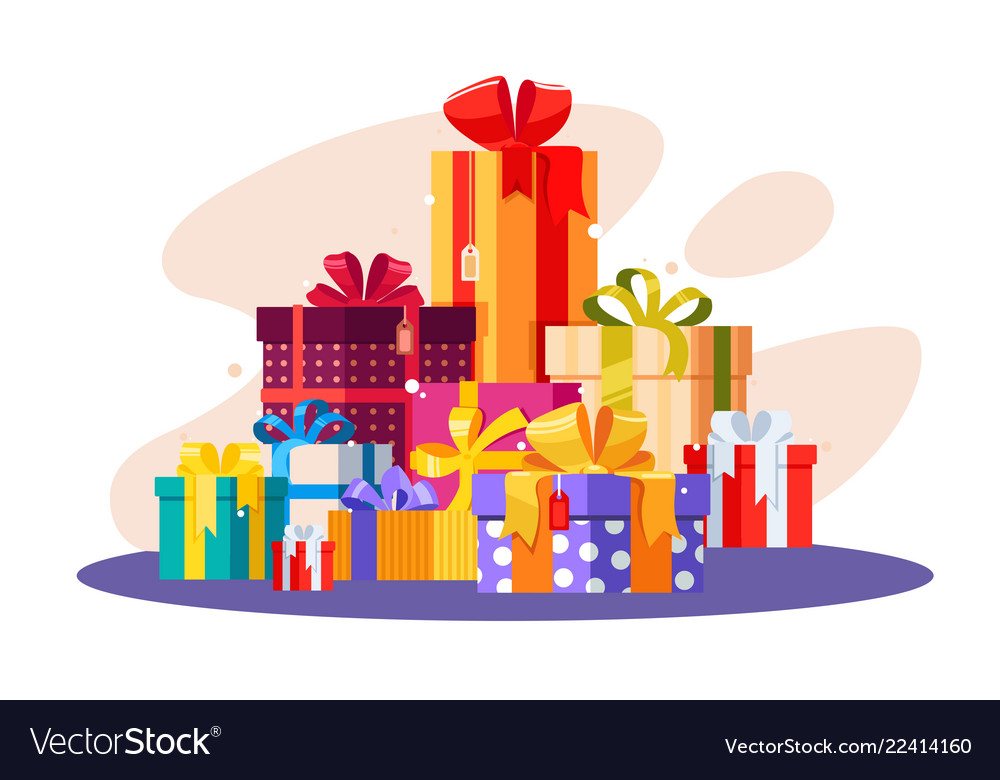 Pile of gifts in colorful packaging