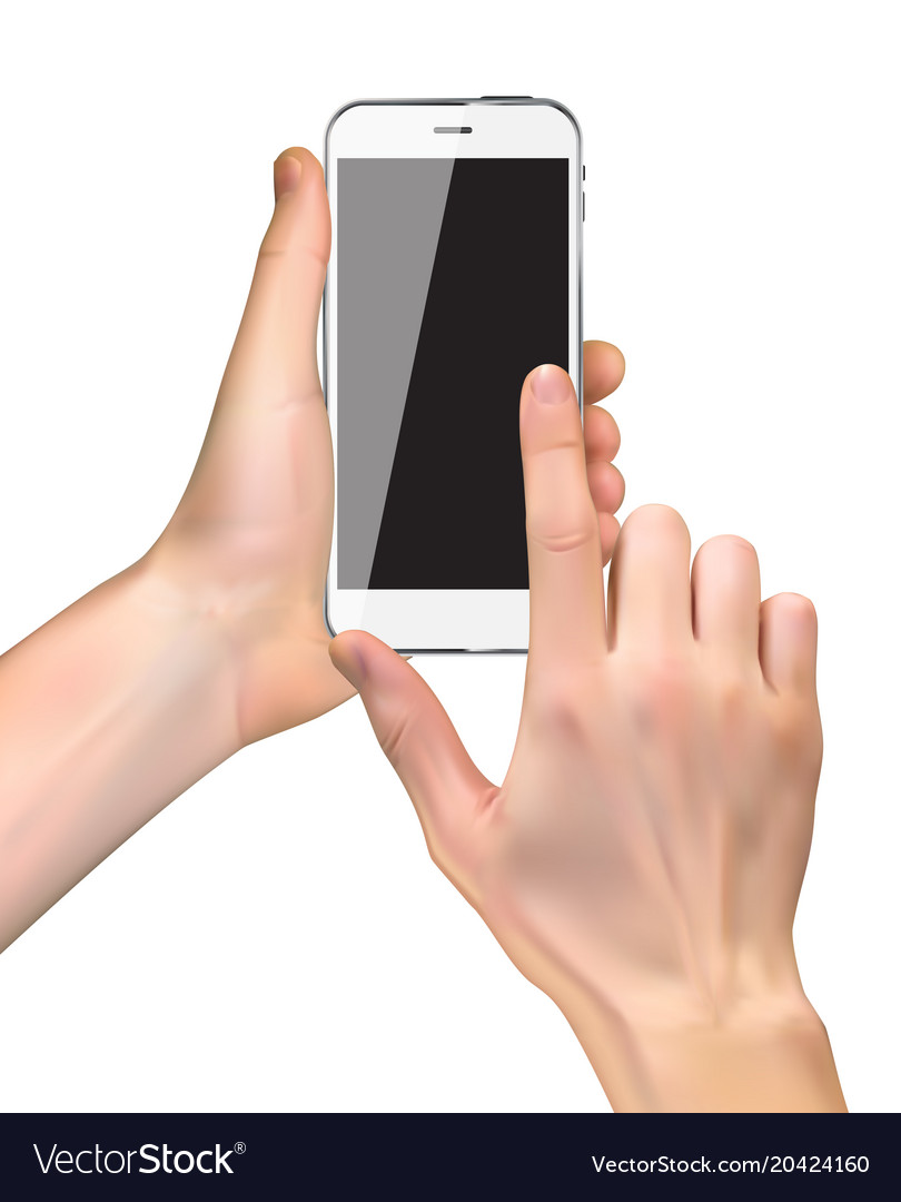 Realistic hand holding mobile phone isolated on vector image