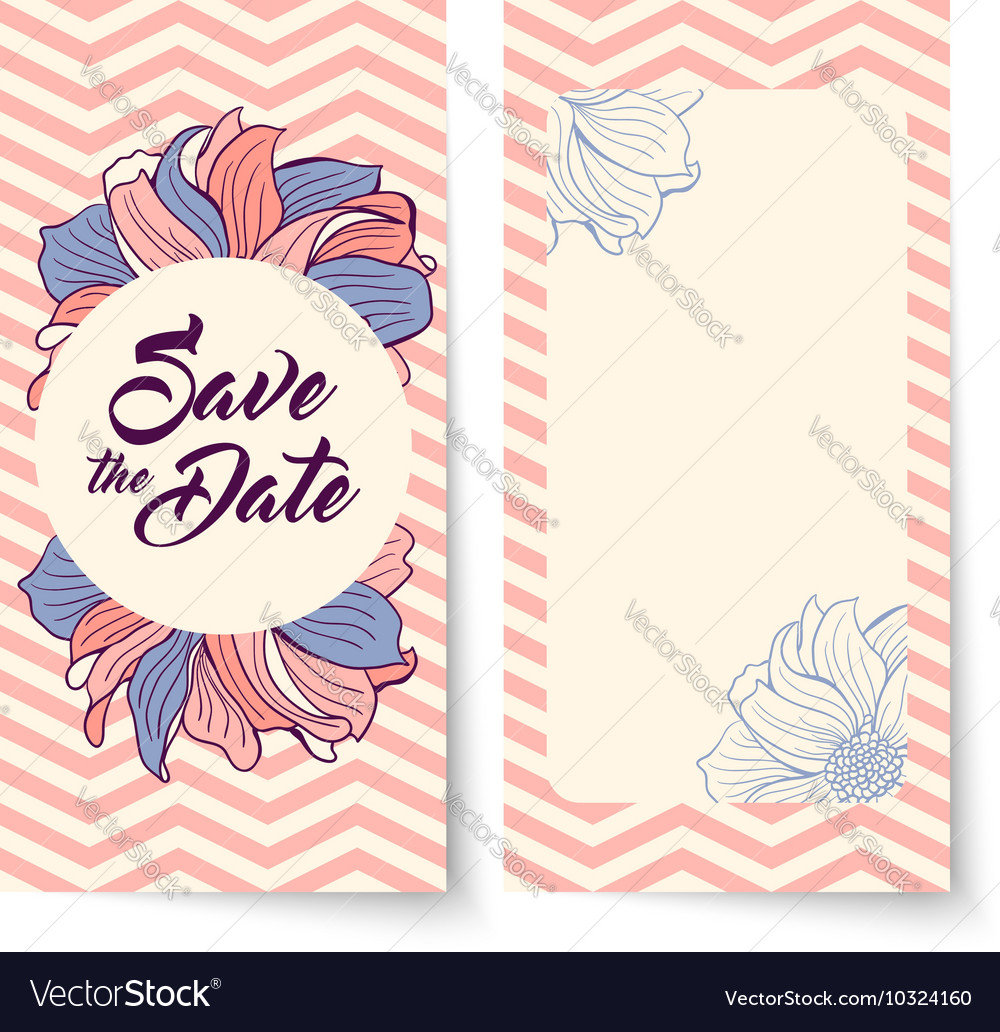 Save date card flowers on chevron background