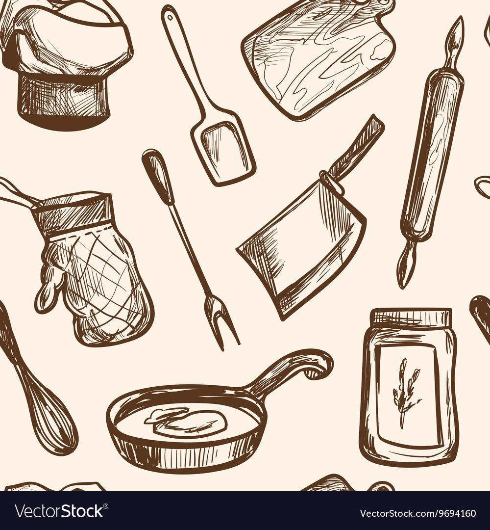 Seamless pattern hand drawn kitchen objects