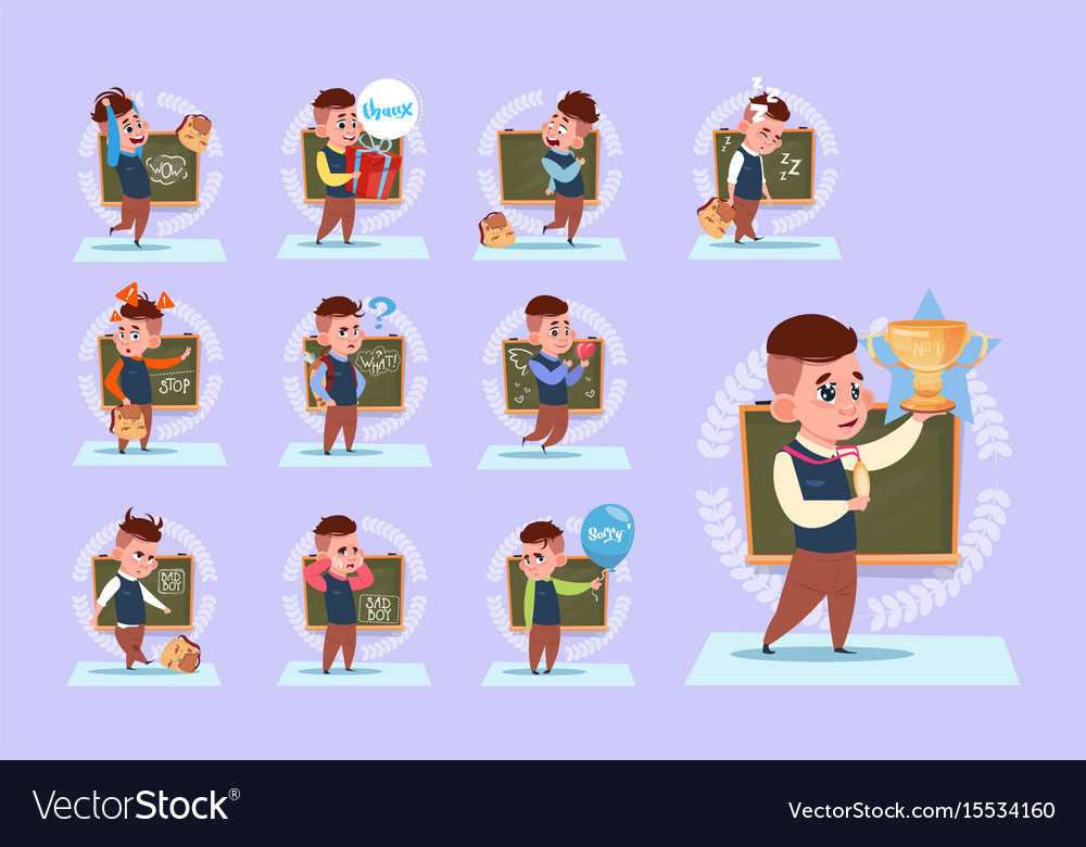 Small school boy standing over class board