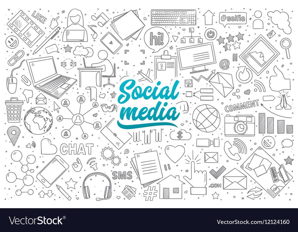 Social media doodle set with lettering