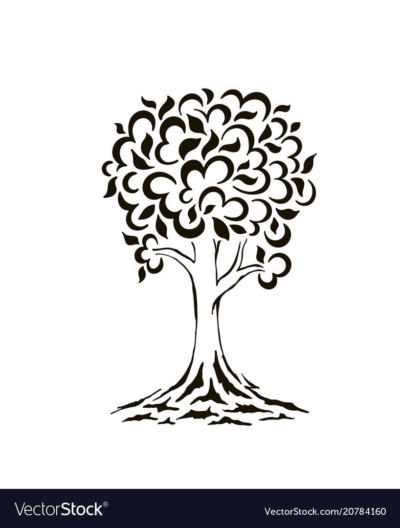 Tree silhouette swirls cartoon funny tree