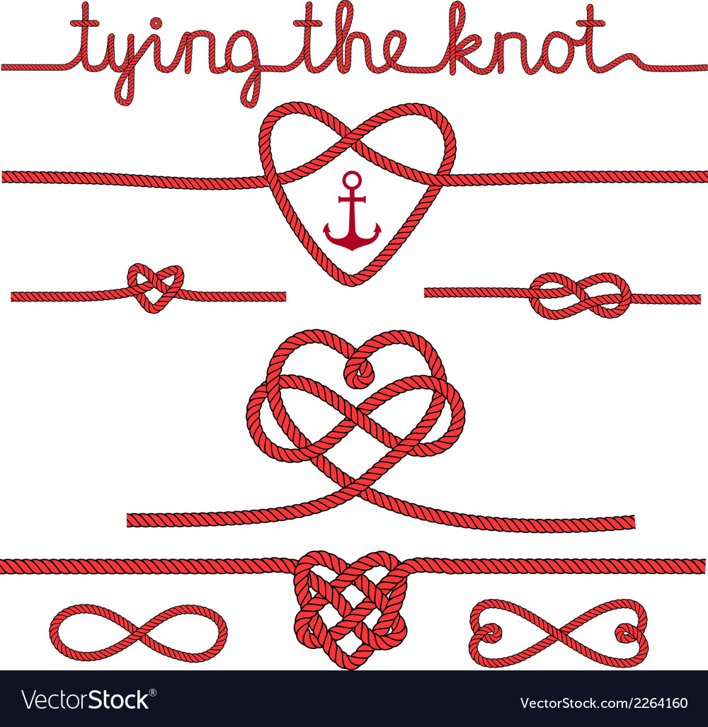 Tying knot rope hearts set
