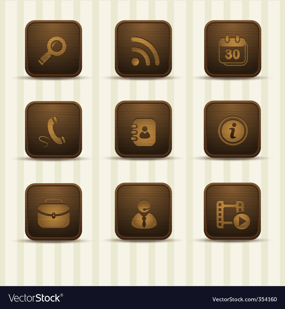 Wooden realistic icons