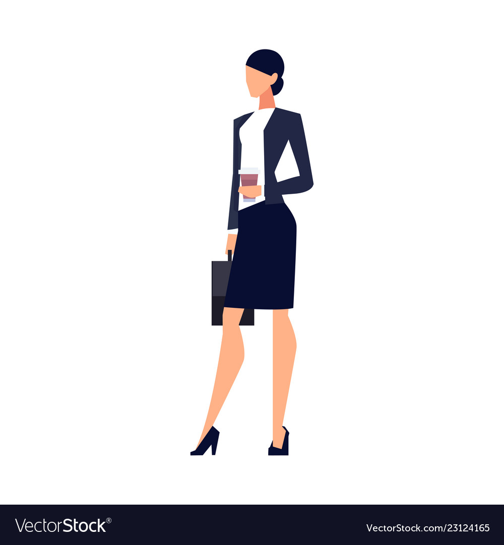 Businesswoman in a flat style isolated on white