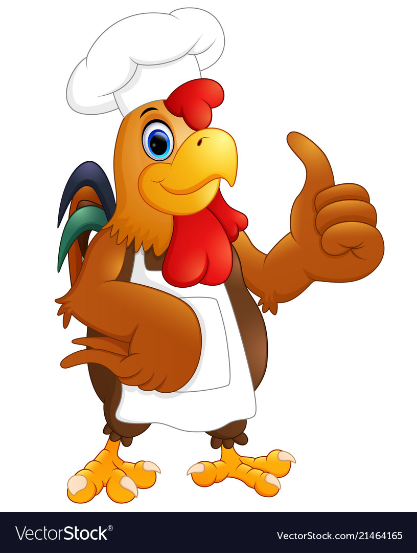 Cartoon chicken chef giving the thumbs up
