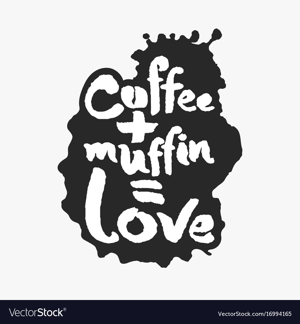 Coffee plus muffin is love in an ink blot