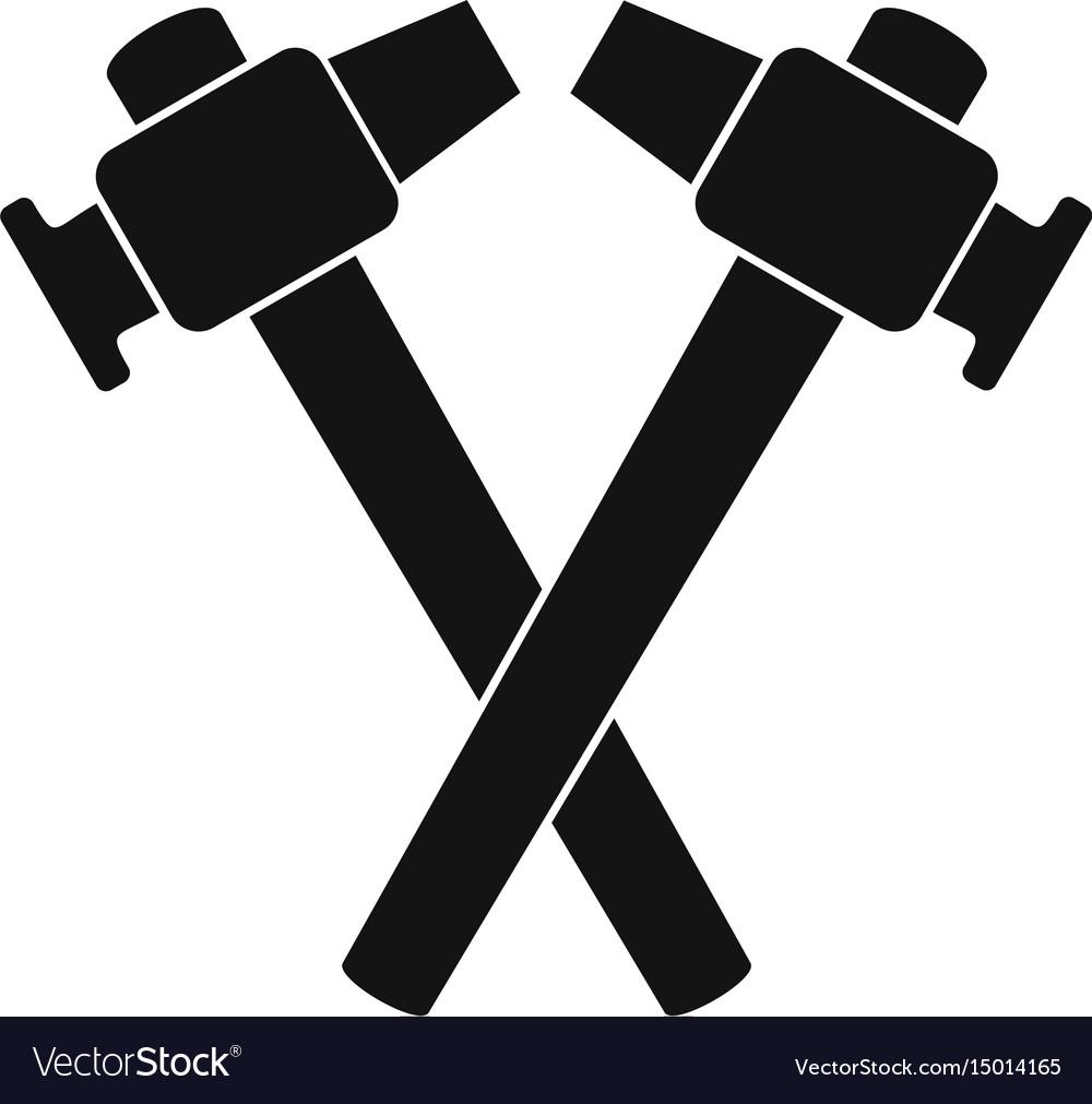 Crossed Blacksmith Hammer Icon Simple Royalty Free Vector