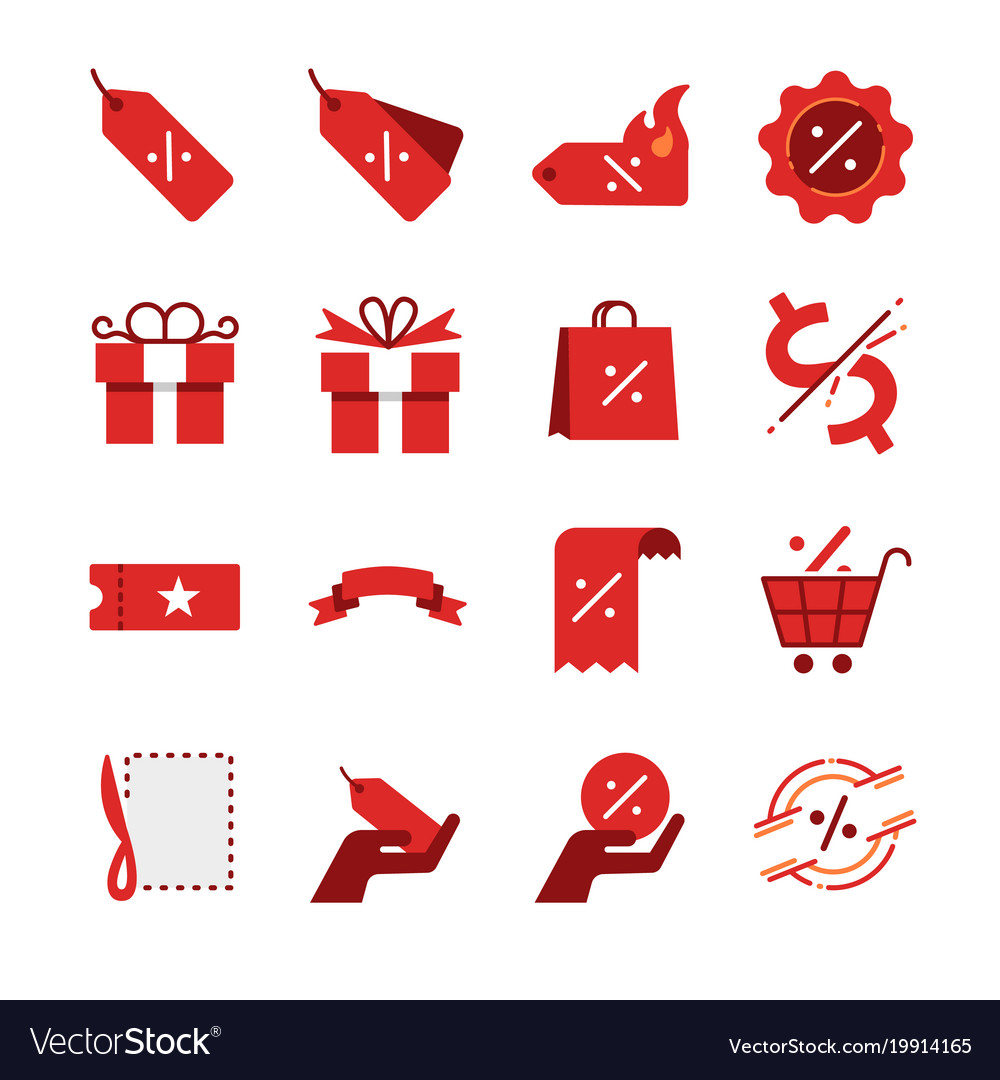 Discount and sale icon set