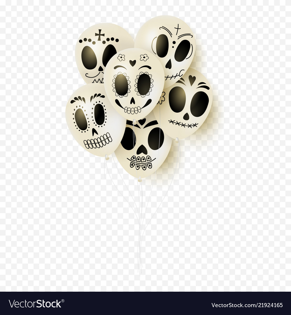 Festive white balloons for day of the dead