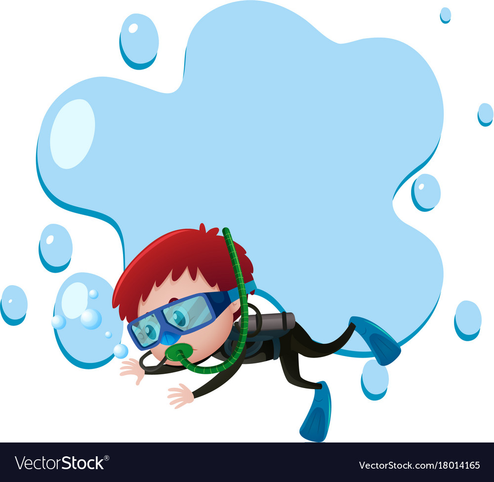 Frame Template With Boy Scuba Diving Vector Image