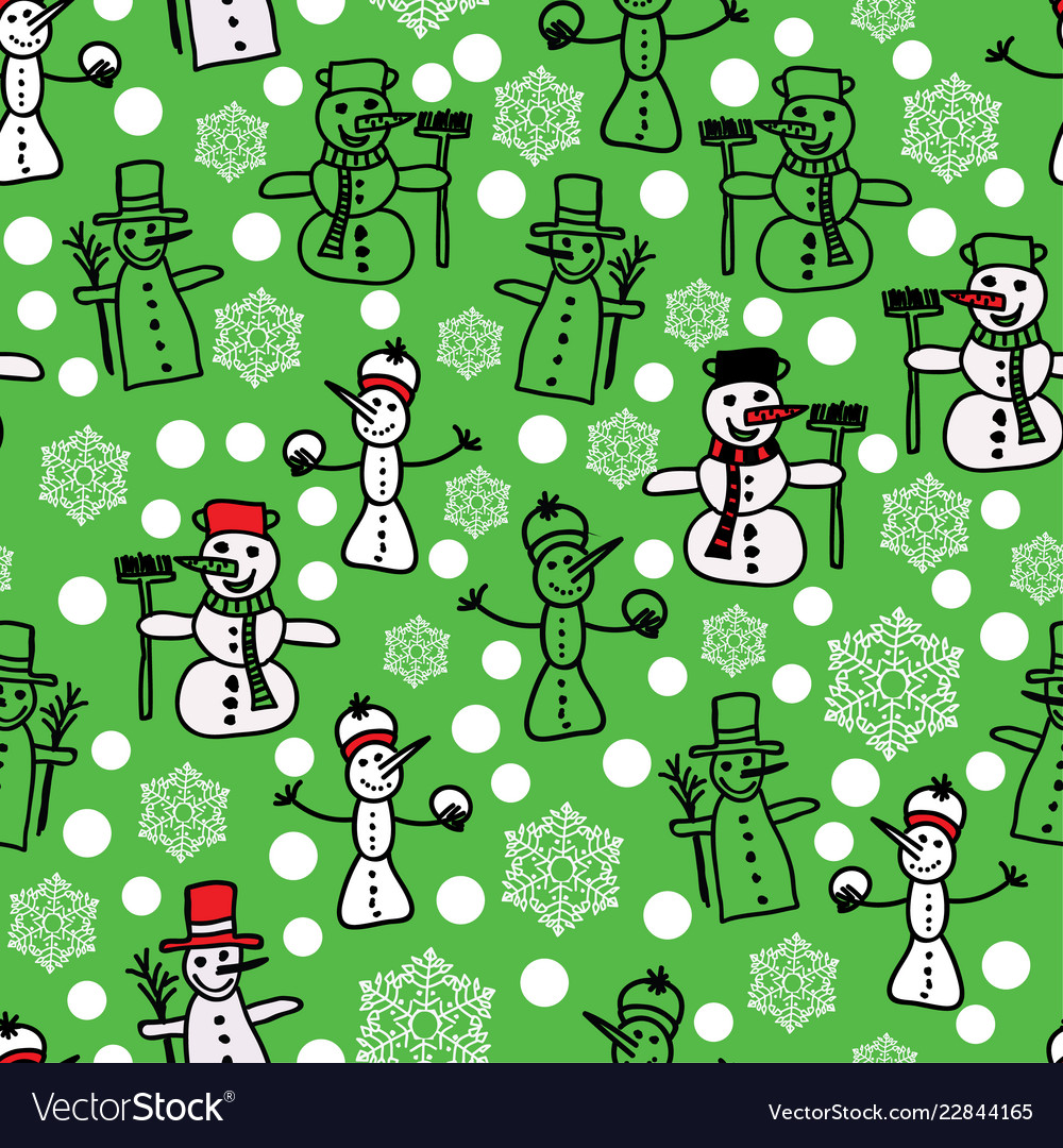 Green white snowman and christmas pattern