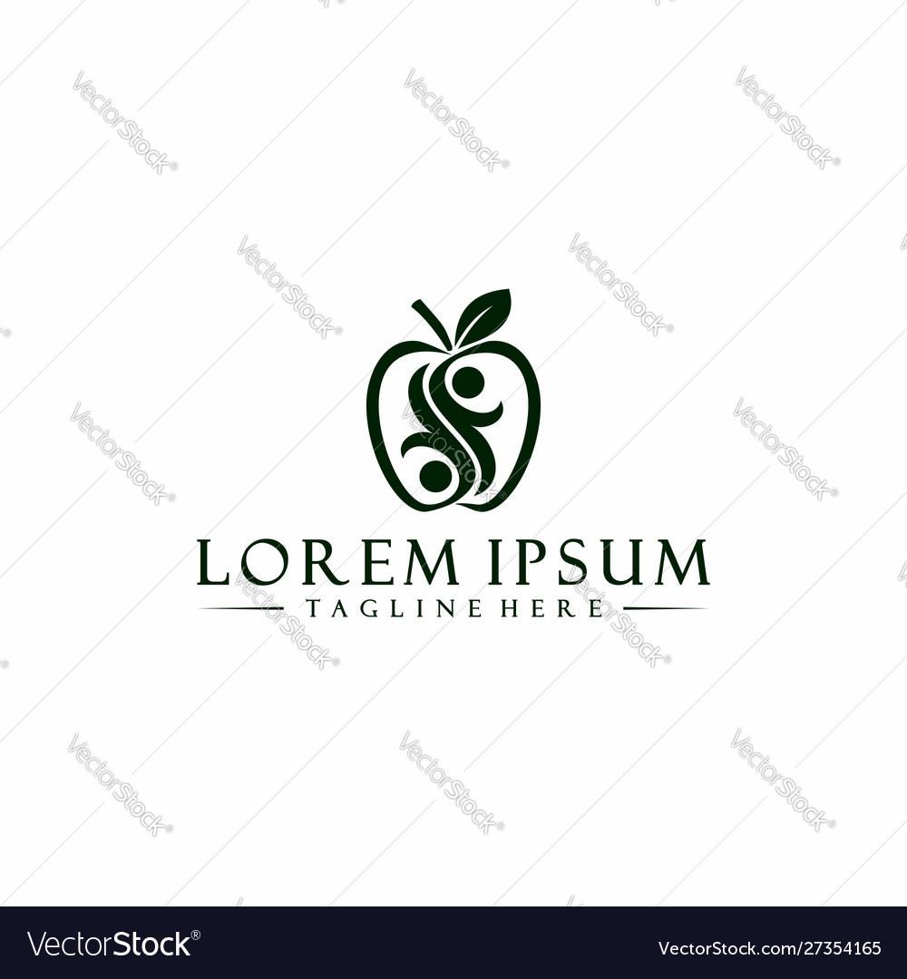 Healthy apple logo symbol template