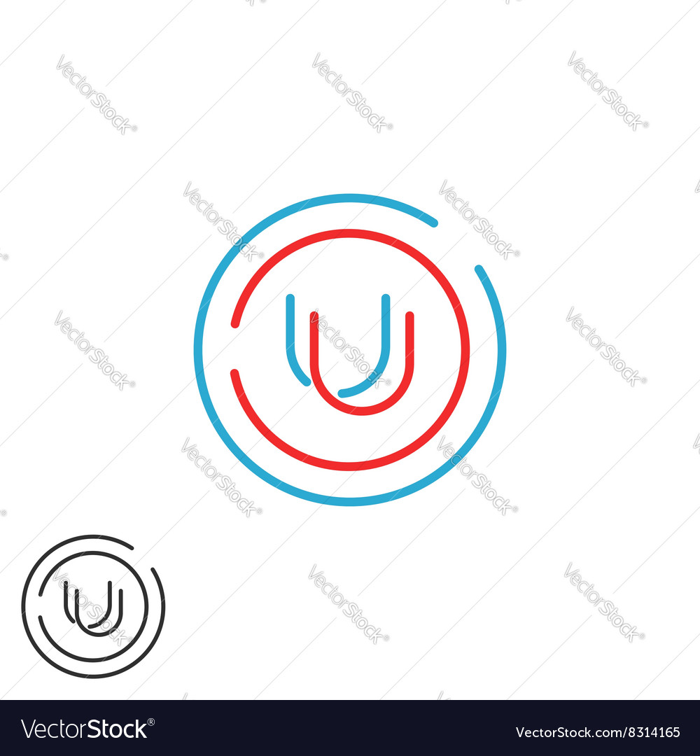 letter u logo monogram mockup wedding invitation vector image