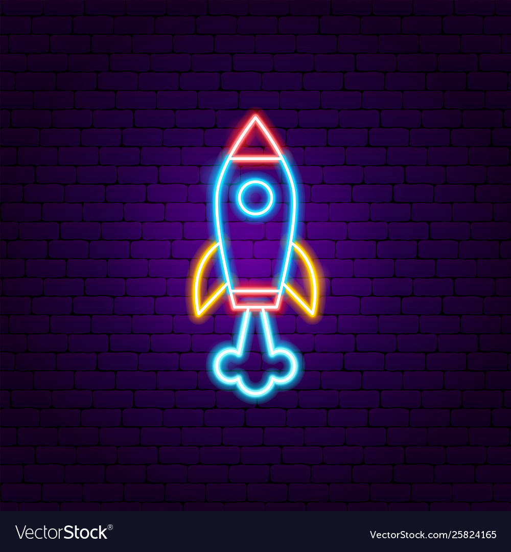 Rocket neon label