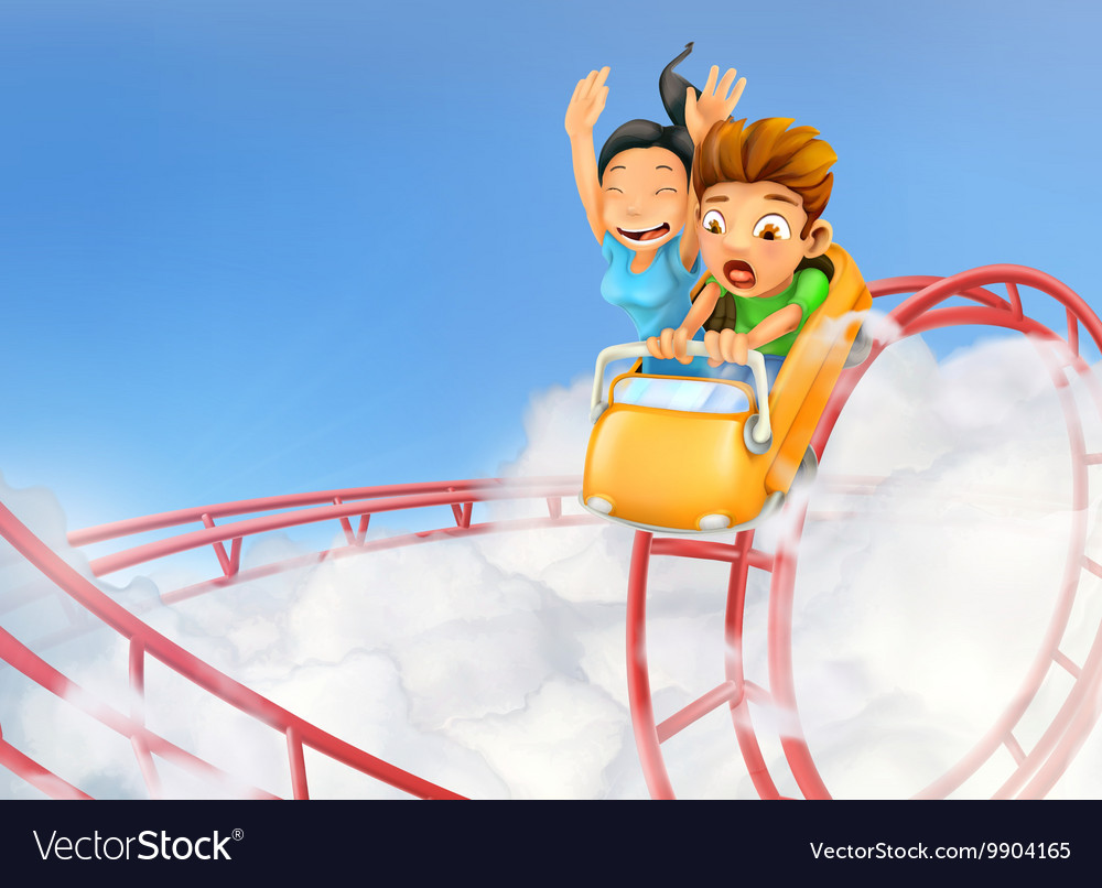 Roller coaster in the clouds background