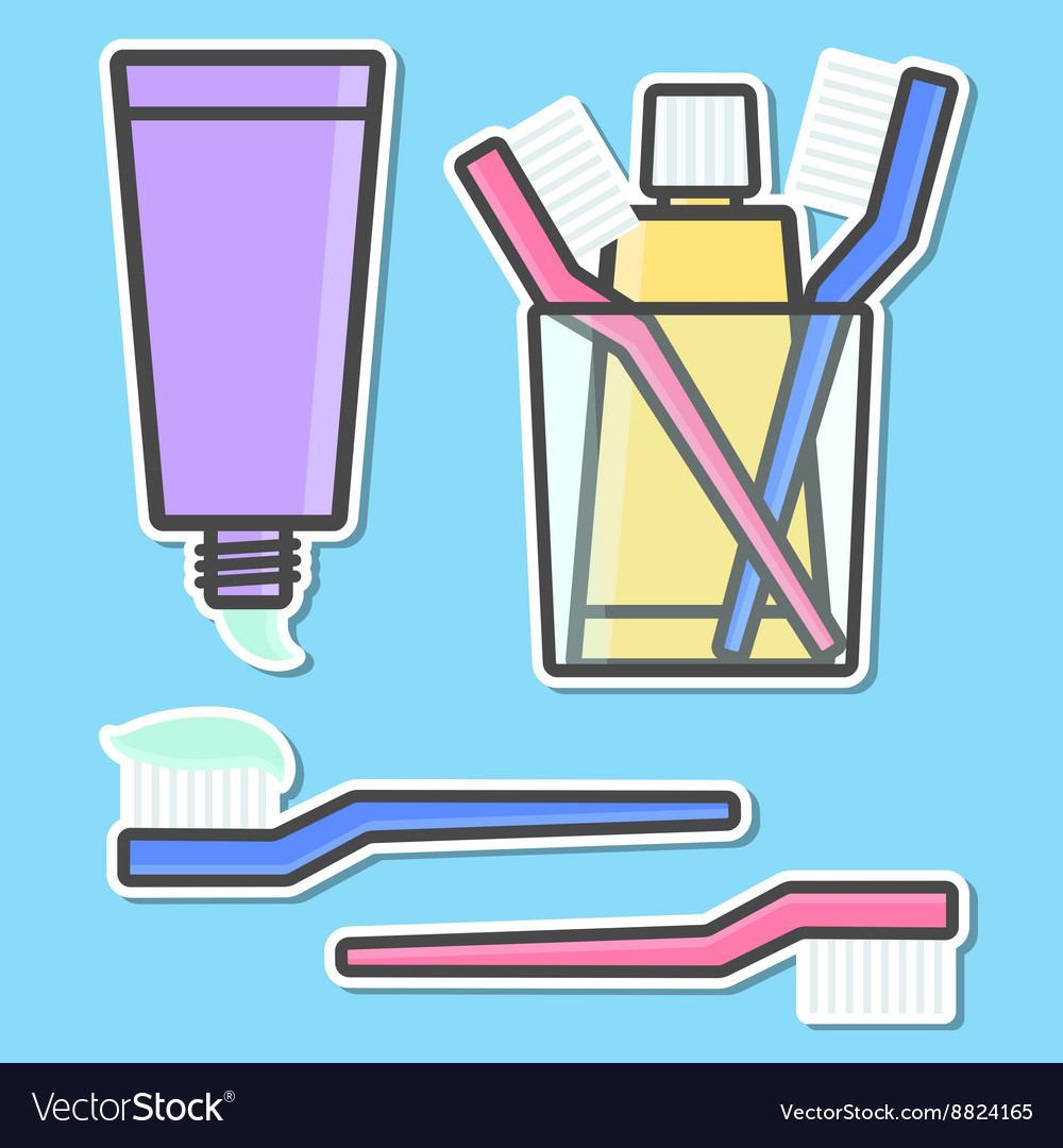 Toothbrush and toothpaste icons