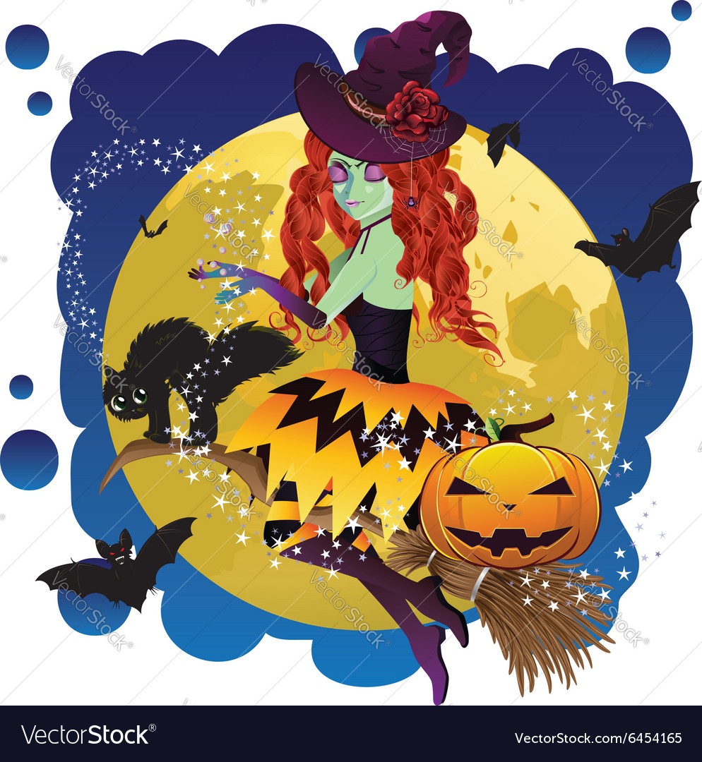 Witch and Full Moon7 vector image