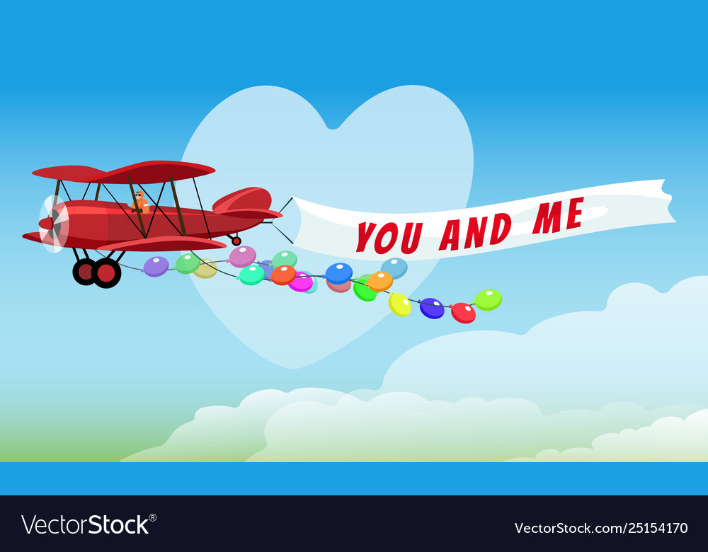 Airplane with poster you and me and festive