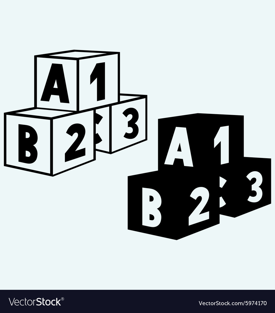 Alphabet cubes with ABC letters and numerals