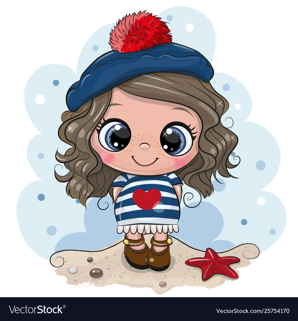 Bacartoon girl in sailor costume