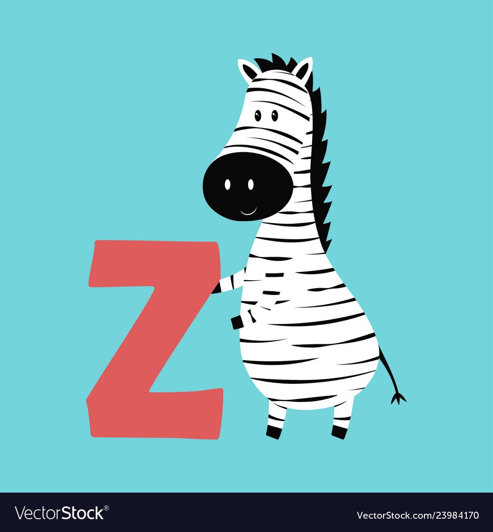 Cute animal alphabet with zebra