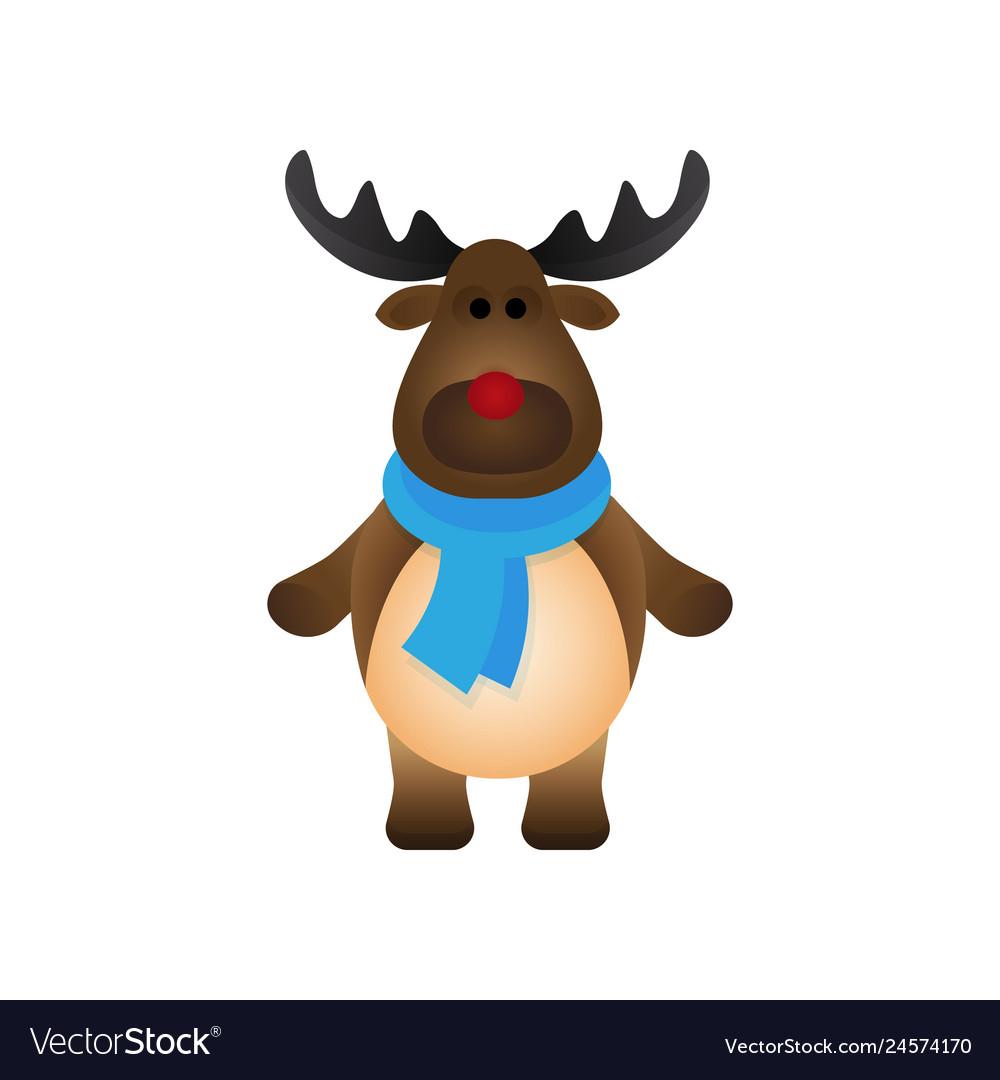 Cute christmas reindeer flat style isolated on
