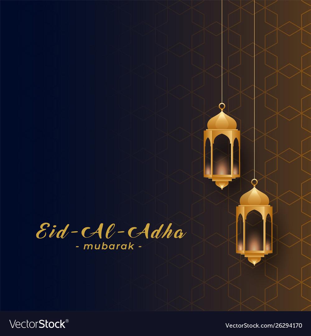 eid al adha design with golden hanging lamps vector image vectorstock