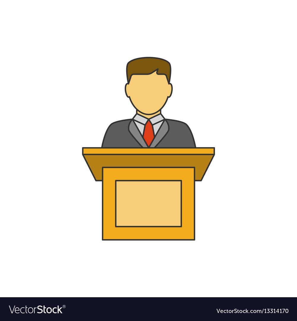 Orator speaking flat line icon vector image