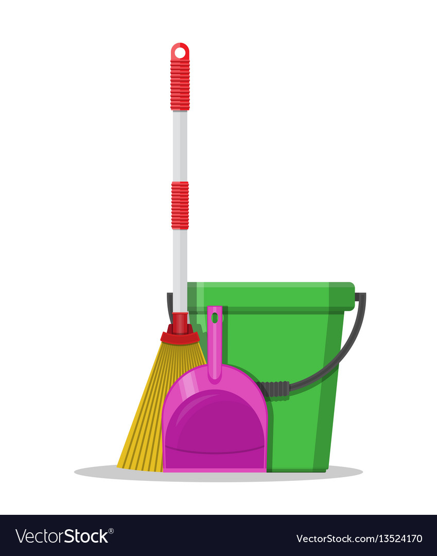 Plastic bucket dustpan and broom
