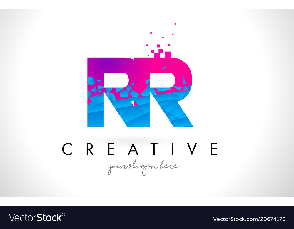 Rr r letter logo with shattered broken blue pink vector image thecheapjerseys Images