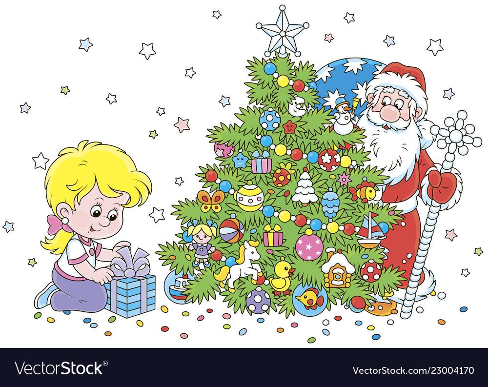 Santa and a girl with a christmas gift